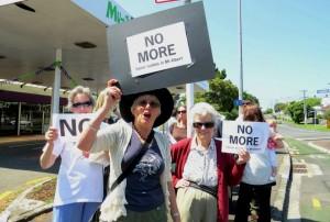 Helga Arlington protests against a new liquor store in Mt Albert