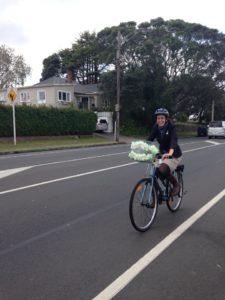 Julie Fairey on her bike