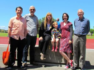 Members of the Puketapapa Local Board with Cr Cathy Casey at the Lovelock Track re-opening