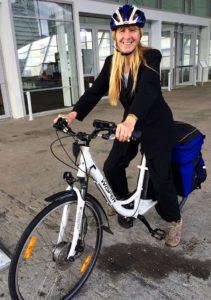 Cathy Casey on her e bike