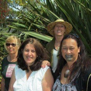 Kahui member Erin Heslin, Margi Watson, Kahui member Cassie Heslin (hat) and Kahui director Bernadette Papa