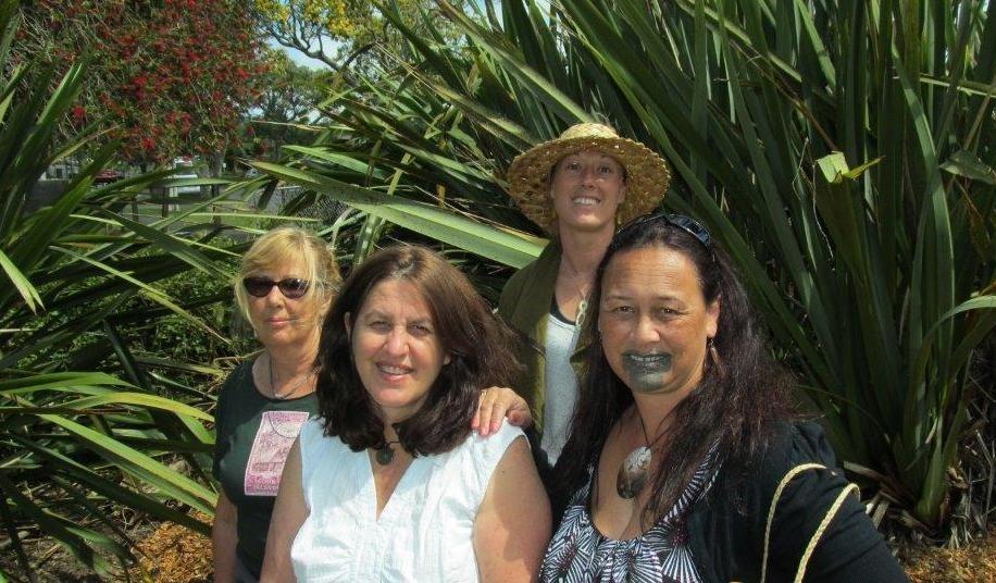Kahui member Erin Heslin, Margi Watson, Kahui member Cassie Heslin (hat) and Kahui director Bernadette Papa2