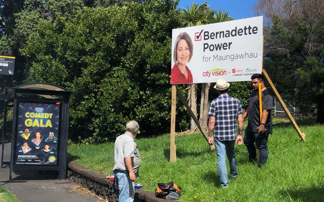 Signs going up for Bernadette